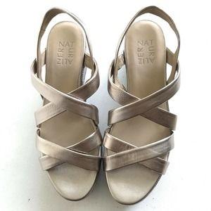 Naturalizer Platform Gold Strappy Sandals